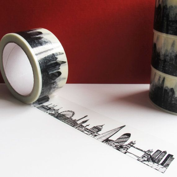 London Skyline Decorative Sticky Tape (50mm) £8.00 The buildings that are included in the skyline are:  Battersea Power station, The London Eye, The Houses of Parliament, Big Ben, The BT Tower, Nelson's Column, St. Paul's Cathedral, The Shard, The Gherkin, Tower Bridge, The Millennium Dome and Canary Wharf!  The tape is 66 metres long and 5cm wide. Great for wrapping parcels, sealing envelopes and decorating lots of other things!