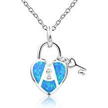 Dormith® Plata de ley 925 Ópalo azul sintético collares para las mujeres Corazón y La Clave colgante de collar rodio moda joyas