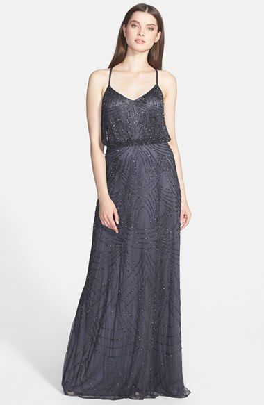 Adrianna Papell Beaded Chiffon Blouson Dress   Nordstrom - Lindsay's Dress (Gunmetal)