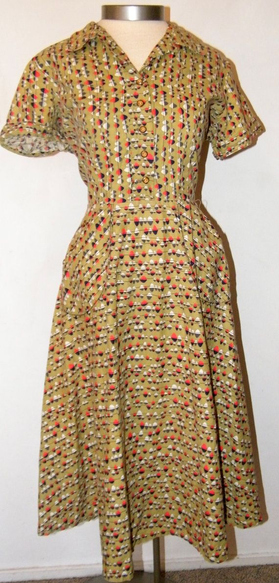 1950s Atomic Print Cotton Day Dress by OrchidRoomVintage on Etsy