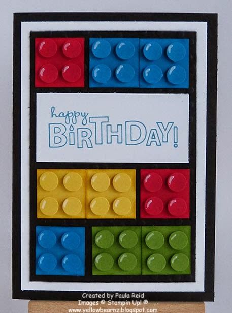 handmade birthday card from Yellowbear Stampin ... Leggos design ... like the way she popped the dots and used a white pen to add highlight dimension ... fun card! ... Stampin'Up!