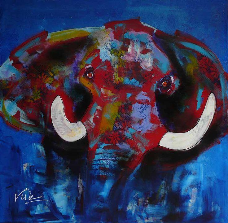 Klik op de afbeelding voor een grote weergave Een abstracte weergave van een Olifant: Olifant #2 De majestueuzeolifant, een indrukwekkend dier dat kracht, intellegentie en liefde uitstraalt. Alle reden om er een tweede schilderij van te maken, dit keer één van grote omvang.  Op een rustige diep donker blauwe achtergrond doemt de olifant op. …