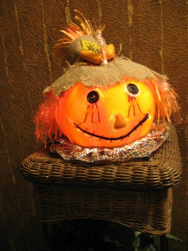 Vintage halloween fiber optic pumpkin scarecrow head with for Fiber optic halloween decorations home