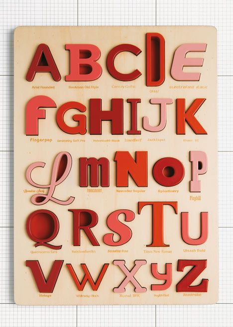 Font Alphabet Puzzle by Looodus   each of the 26 letters in the alphabet  are laser cut in the shape of a typeface that begins with that letter, so T is represented by Times New Roman and P is written in Playbill. http://www.etsy.com/shop/looodus #typography #fonts #products
