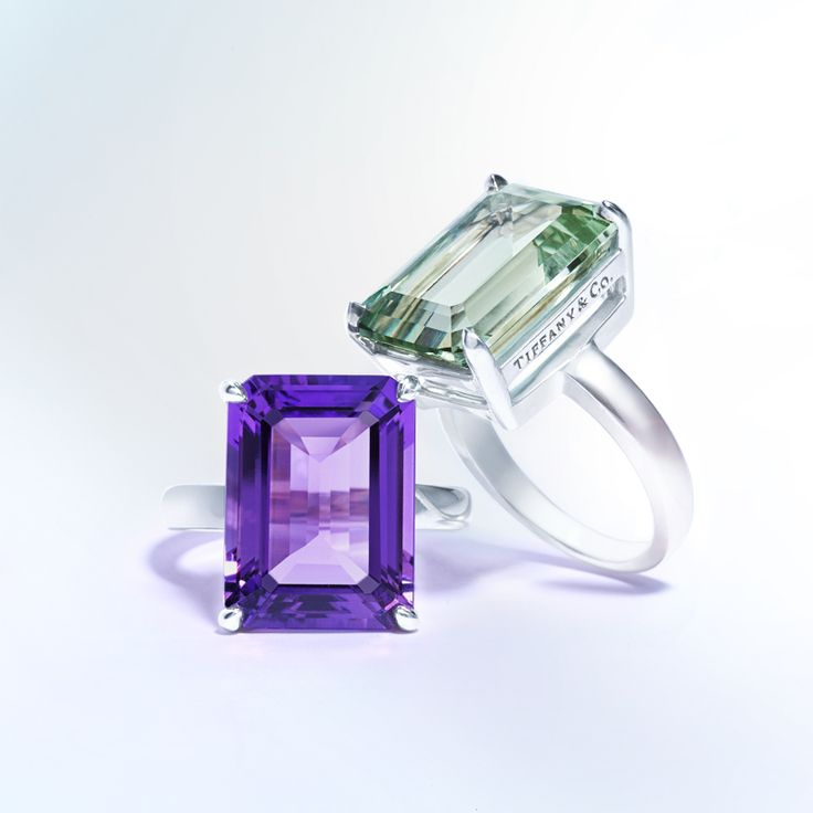 Tiffany Sparklers Cocktail Rings In Sterling Silver From Left Amethyst And Green Quartz