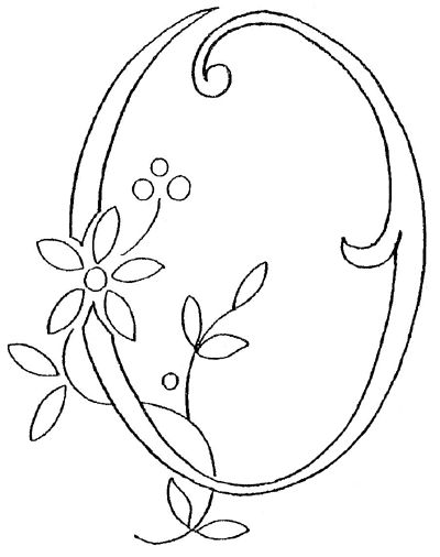 Monogram for Hand Embroidery: the Letter O-- rosemary, pansy, fennel & columbine, rue, english daisy, violet
