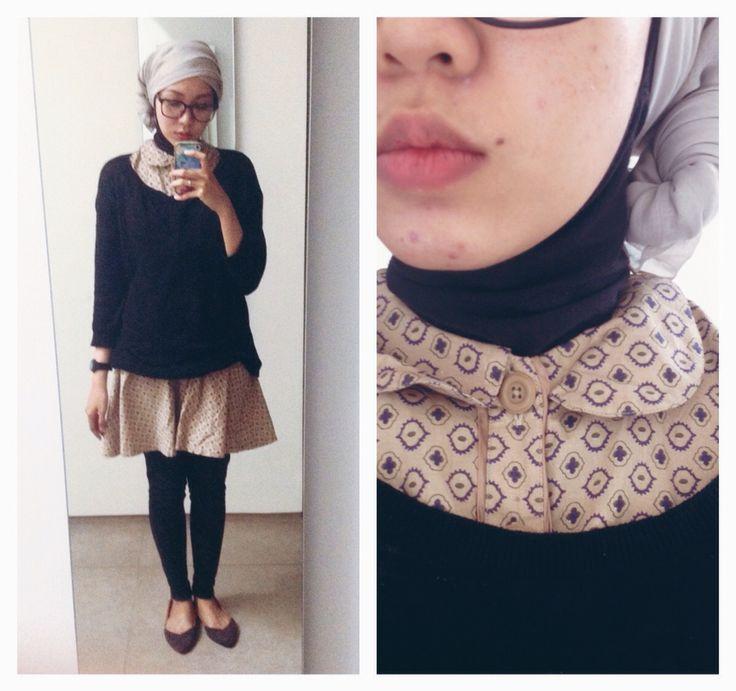 Ootd casual hijab outfit, style : dress-shirt, sweater, jeans, flat shoes, turban #fien  Syaifiena W lookbook.nu/syaifiena