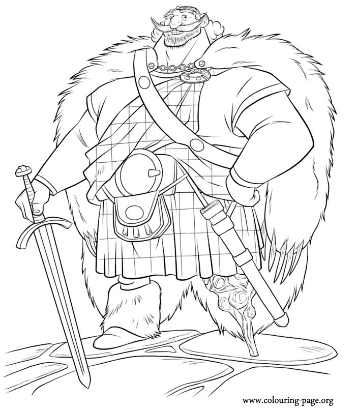 In This Beautiful Coloring Sheet From The Brave Movie Is King Fergus Of DunBroch Hes Merida DisneyBrave DisneyFree Printable