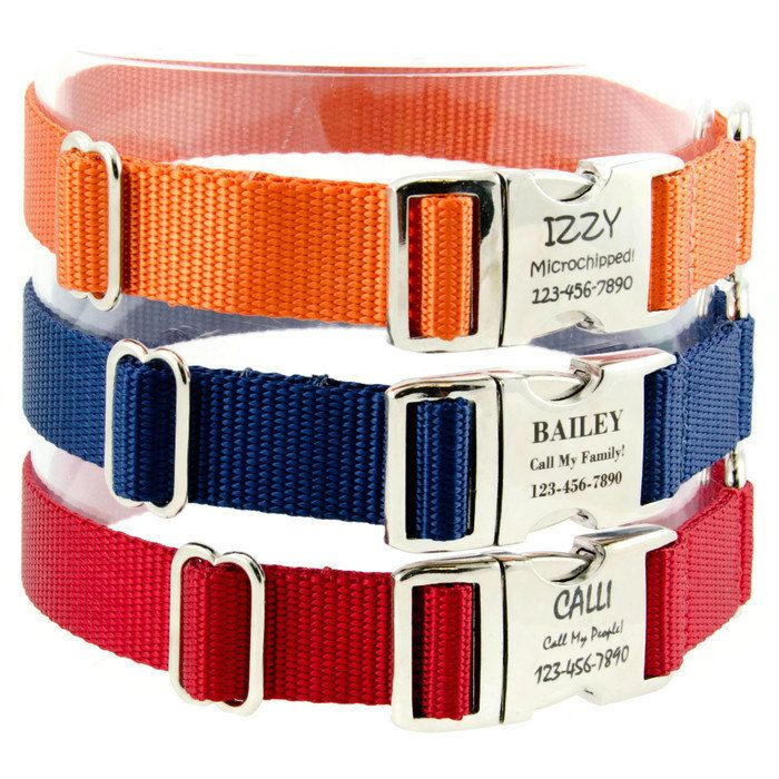 """Personalized dog collar, adjustable with custom laser engraved pet id metal buckle. No more noisy tags! PLEASE, PLEASE, PLEASE take the time to read sizing and engraving info below – just scroll down.  ***********FEATURES************  **I ship FAST! Usually the next business day after you order!  **Handmade in the USA**  --Bright beautiful nylon webbing dog collar either 5/8"""", ¾"""", or 1"""" wide – your choice;  --Triple stitched with sturdy box seams;  --Strong, durable nylon thread sewn on an…"""