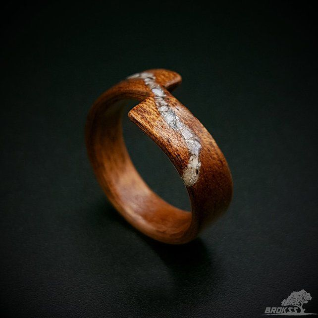 Wood Ring Mahogany And Sea Shells Inlay Women S Wood Ring