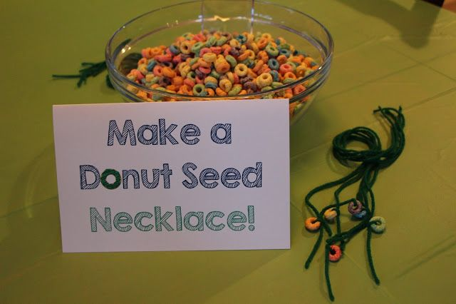 Doughnut Birthday Party, Donuts, Make a Donut Seed Necklace, 4th Birthday, Activity
