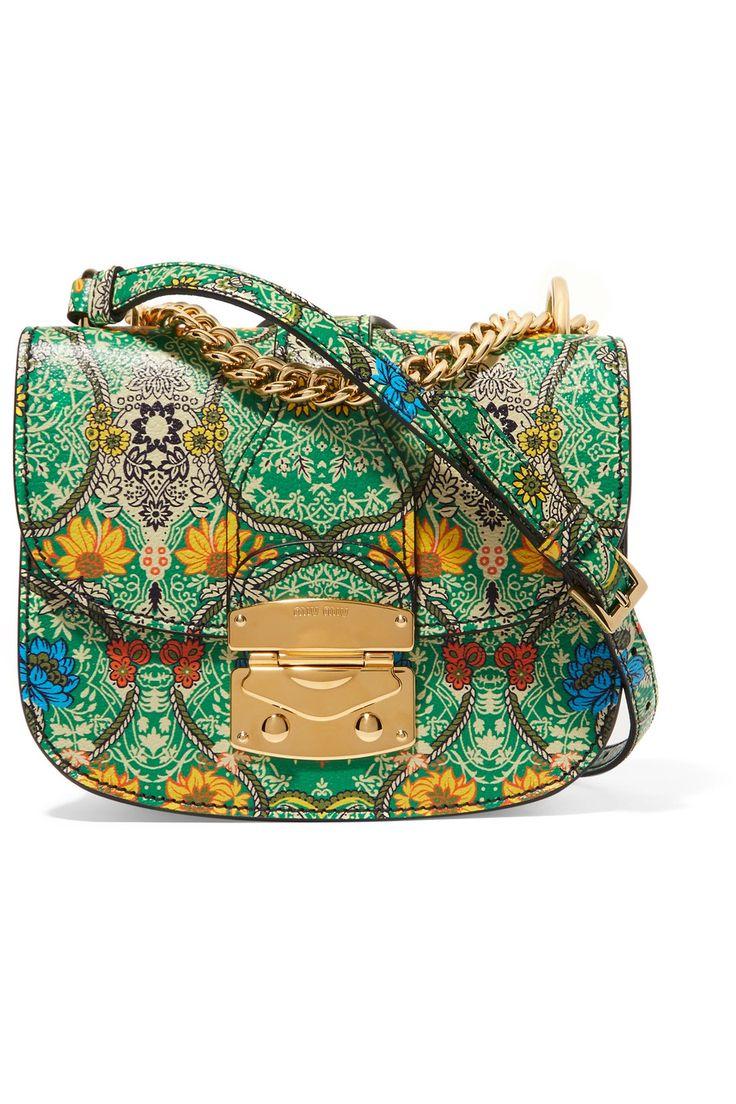 MIU MIU Madras floral-print textured-leather shoulder bag