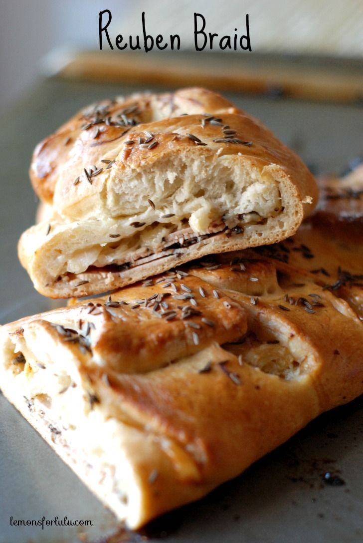 Rhodes bread dough is braided around turkey pastrami, Swiss cheese and sauerkraut! A real twist on a deli classic!