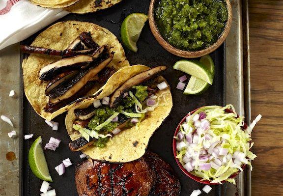 Portobello Mushroom Tacos from Forks Over Knives | festive vegan tortillas dishes - burritos, tacos, fajitas and more | vegkitchen.com