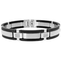 Men's Stainless Steel Bracelet with Diamond-Accent and Black Plating (1/4 cttw), 8.25''