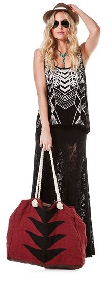 See through lace and oversized beach bag