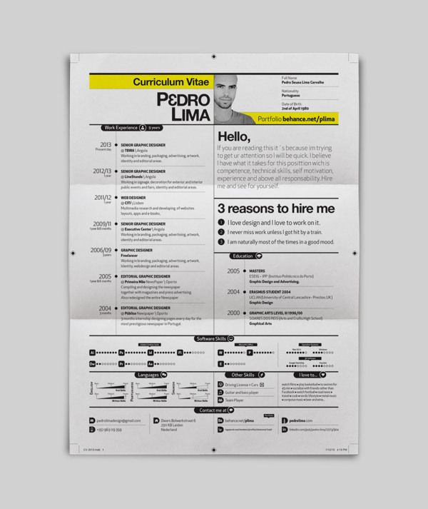 59 best #CV images on Pinterest Resume design, Resume and - visual resume examples