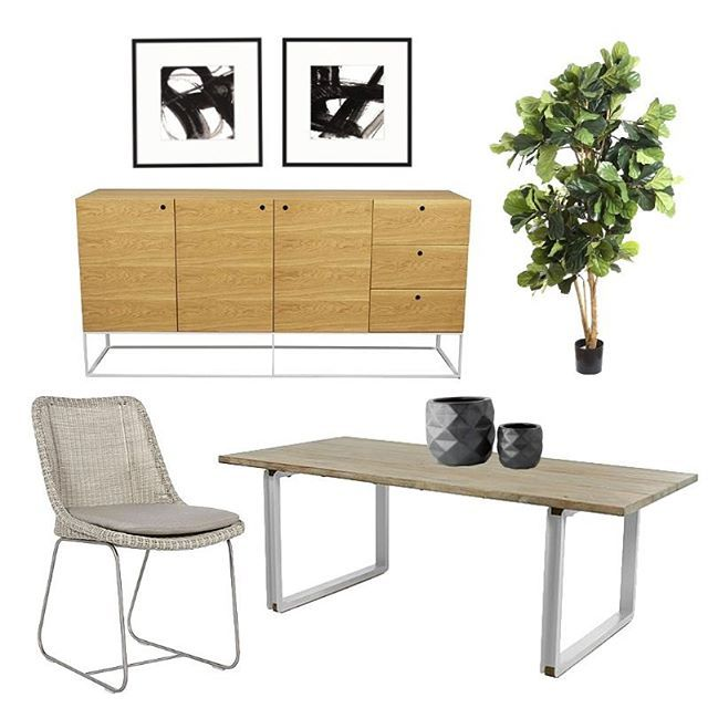 Our fabulous @jac_styling has put together this ace moodboard of some of our great products; 2m Fiddle Leaf Fig, Siena Buffet, Agra Groove Dining Table, Cancun Stainless Steel Dining Chair, Parker and Louis artwork.  Don't forget about our @globewest comp