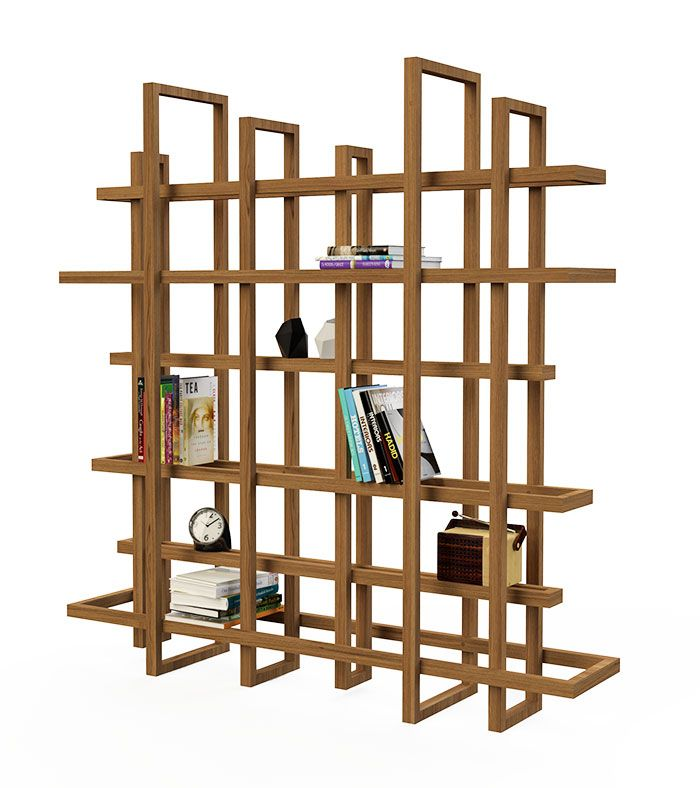 RAMES 2.0 Bookcase, which is made up of frames of different sizes. The frames come from the two largest frames and all fit together.  The cabinet is free standing and can also serve as a room divider. Material: wood Dimensions: h 180 x d 39 cm Various sizes and compositions are possible. Design: Gerard de Hoop