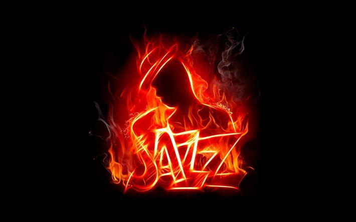 Descargar fondos de pantalla jazz, fuego, llamas, saxofón, creativo