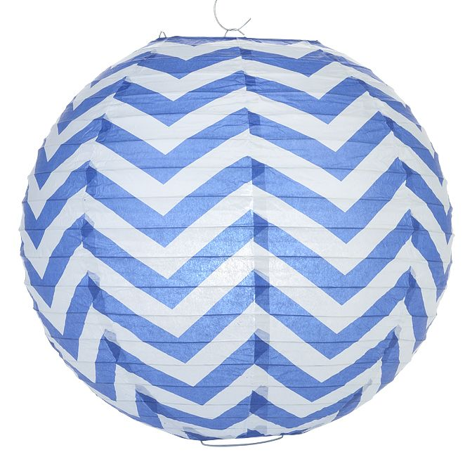 Add navy chevron PAPER LANTERNS to your NAUTICAL Theme Classroom Decor, cost approx $2.50 / each
