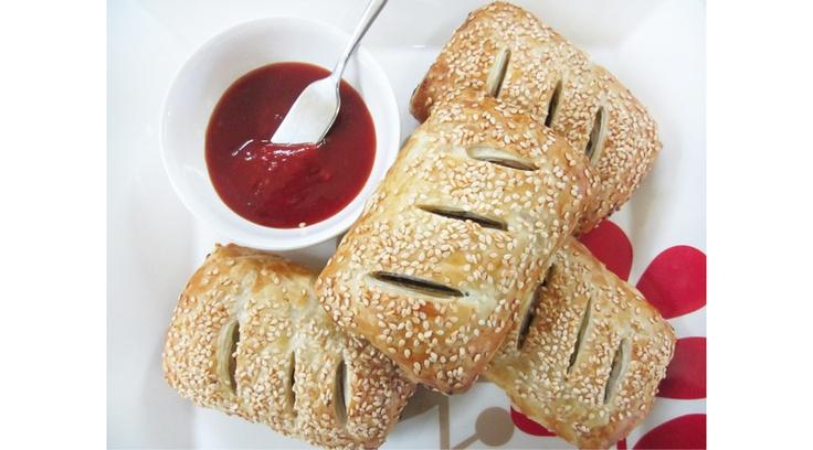 Chicken and chestnut sausage rolls
