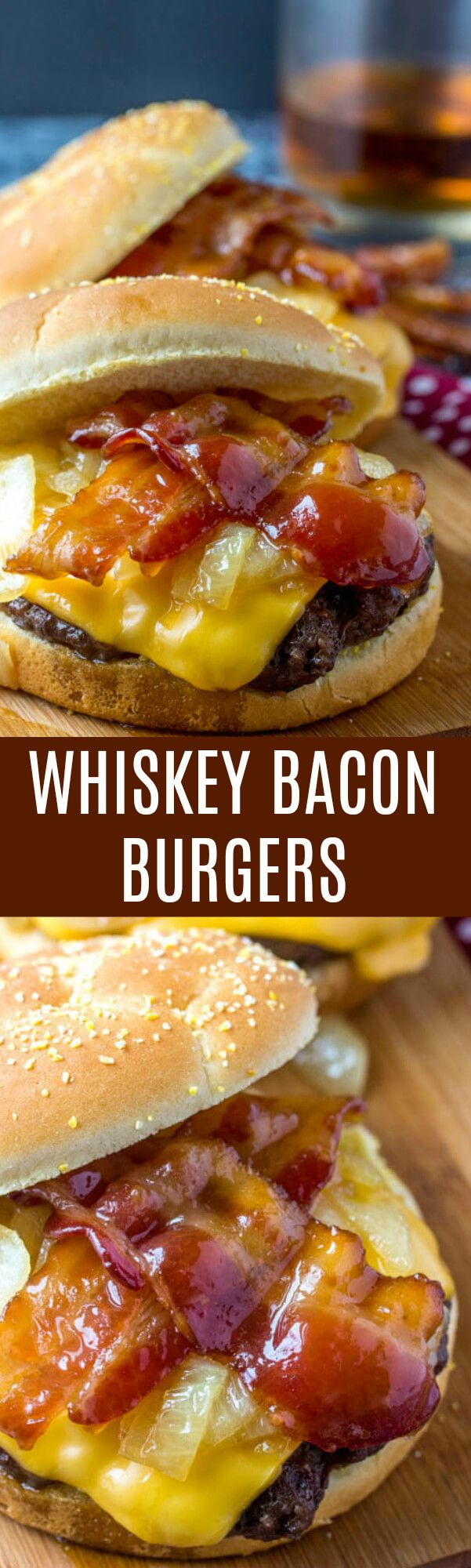 Tender and tasty these Whiskey Bacon Burgers are a quick and easy game day or gilling meal that you will want to make over and over again! via @amiller1119
