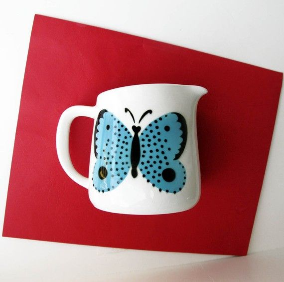 Arabia of Finland Small Blue Butterfly Pitcher