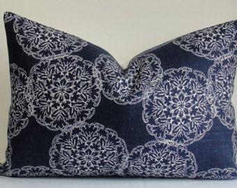 DURALEE Wood Block Print -Designer Decorative Pillow cover-  indigo blue - throw pillow - accent pillow - navy pillow