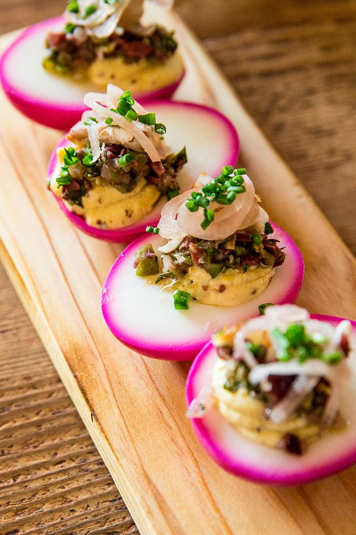 Learn how to make deviled eggs with smoked trout, pickled shallots and olives from Finch & Fork in Santa Barbara, California.