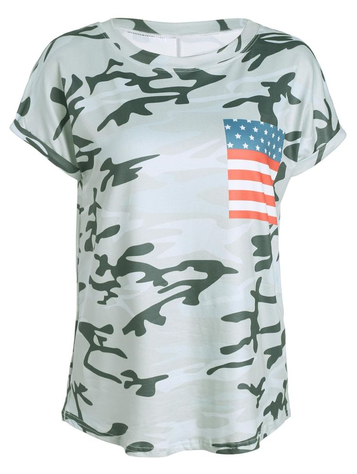 American Flag Print Patched Camo T Shirt - COLORMIX XL $11.99