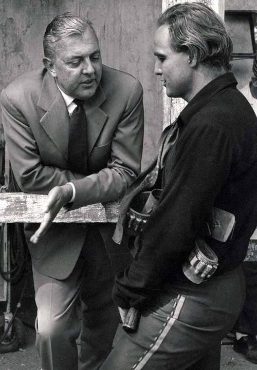 Pictures: Brando chatting with Jacques Tati on the set of One-Eyed Jacks. Movieyear 1961, directed by Brando, filmed on several locations in California.