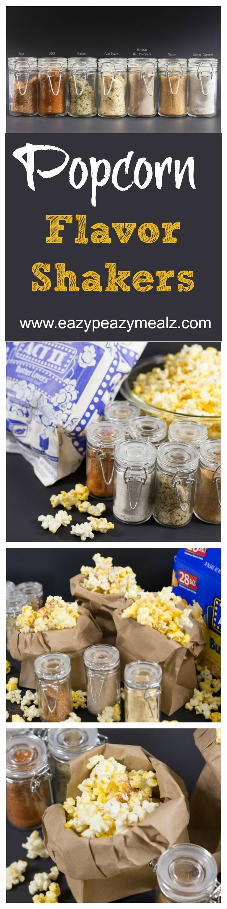 Popcorn flavor shakers paired with Act II Butter Lovers Popcorn for a Pop-tastic family movie night, with popcorn flavors everyone loves!