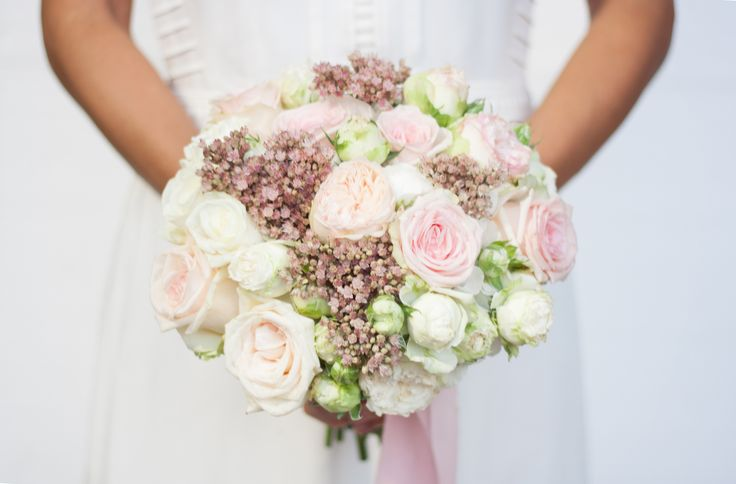 White, pink, green wedding bouquet