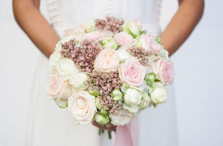 White, pink, green wedding bouquet