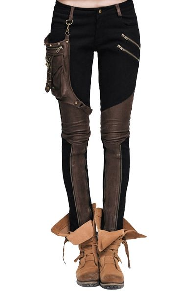 Steampunk Hose mit Kunstleder und abnehmbarer Tasc…