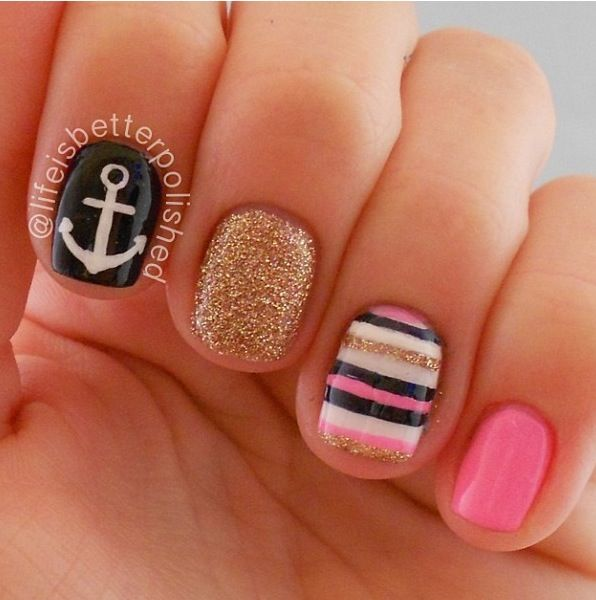 Anchor nails by @lifeisbetterpolished