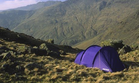 Illegal wild camping in England. (It is legal in the Scottish Highlands)