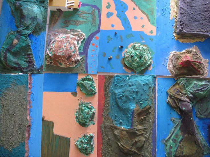 https://flic.kr/s/aHskfhJpk5 | Taller experimentació juliol 2015 | fusta, sorra, porex, cartró, pintura, roba, guix