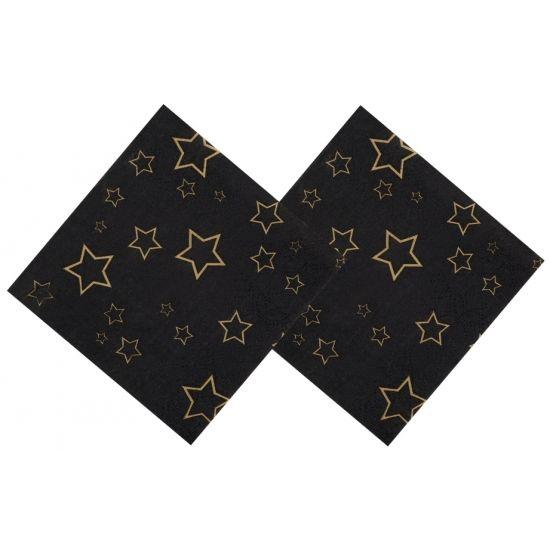 Servetten zwart met gouden sterren. 12 zwarte servetten met gouden sterren. De servetten zijn 25 x 25 cm. Leuk voor het Kerst diner of een Oud en Nieuw feestje!