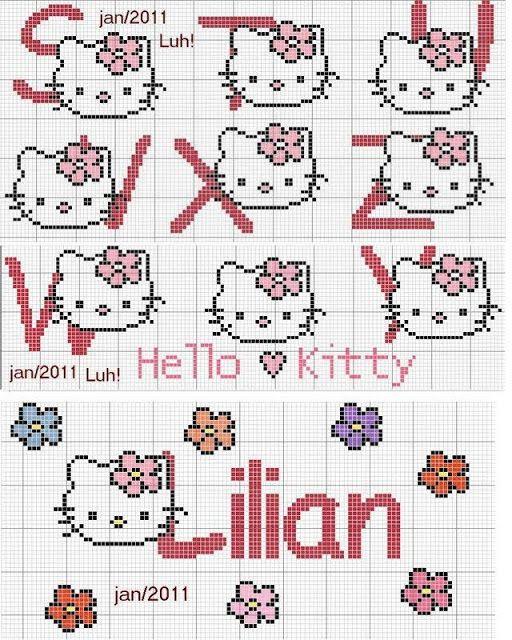 alphabet - point de croix - hello kitty - cross stitch - Blog : http://broderiemimie44.canalblog.com/