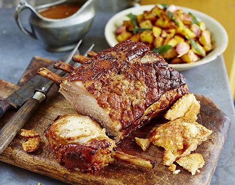 Roast pork loin with bombay-style potatoes