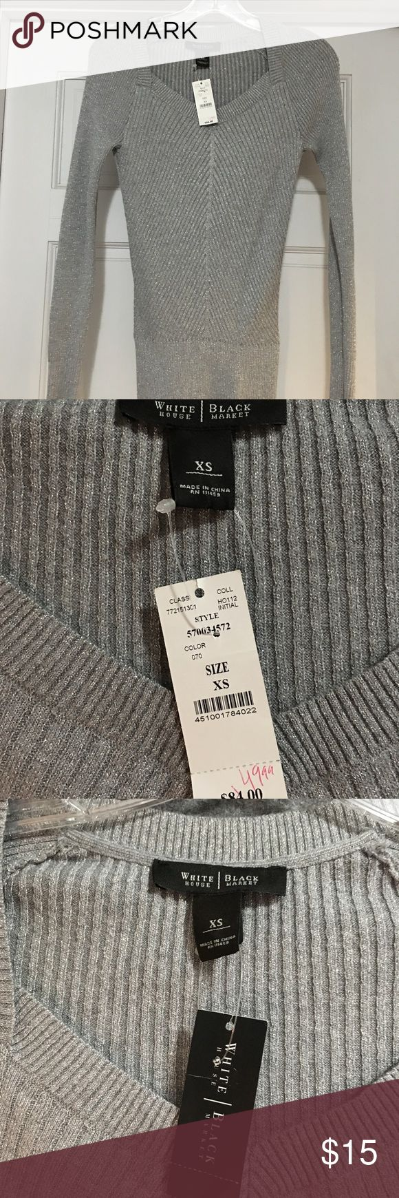 ❤️❤️BRAND NEW WITH TAGS WHBM SILVER SWEATER XS❤️❤️ Oh my!!!  This is AMAZING!!! Brand New with tags--White House Black Market sparkling lightweight sweater!!! Size XS. PRICED TO SELL QUICKLY!!!  Bundle bundle bundle for additional savings!!! White House Black Market Sweaters V-Necks