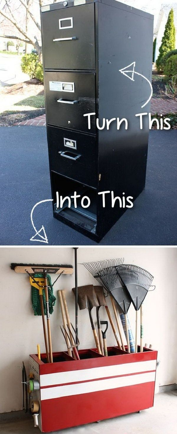 Turn an Old File Cabinet into a Garage Storage.  Micoley's picks for #DIYoutdoorprojects www.Micoley.com