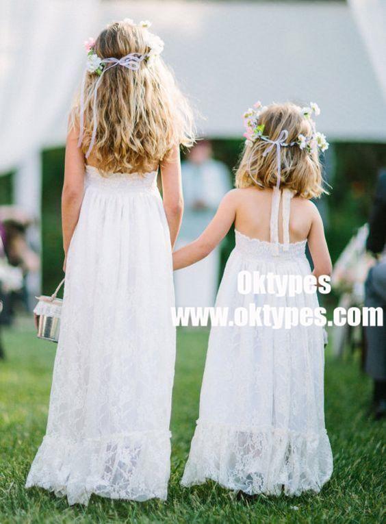 A Line Halter Sleeveless Long White Lace Flower Dresses Typ0870