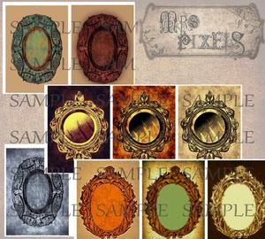 Striking frame images with gold, brass copper, and silvery gray are on textured backgrounds for medallion focal elements in collages and altered art creating. #DigitalCollageArt #FrameImages
