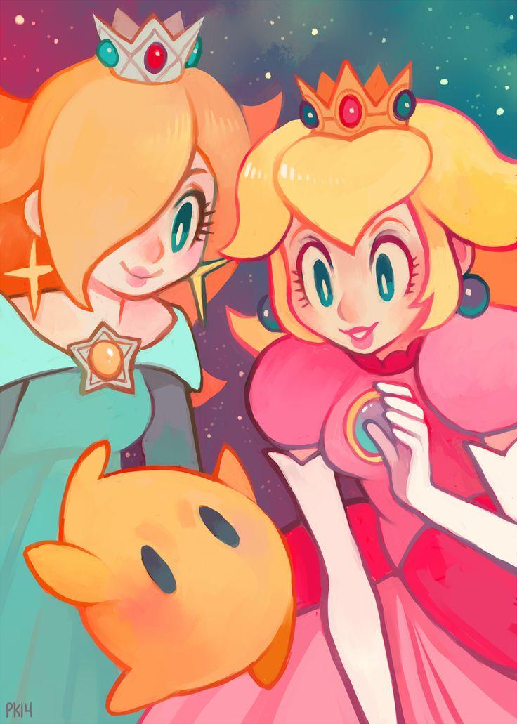 Peach and Rosalina by purplekecleon
