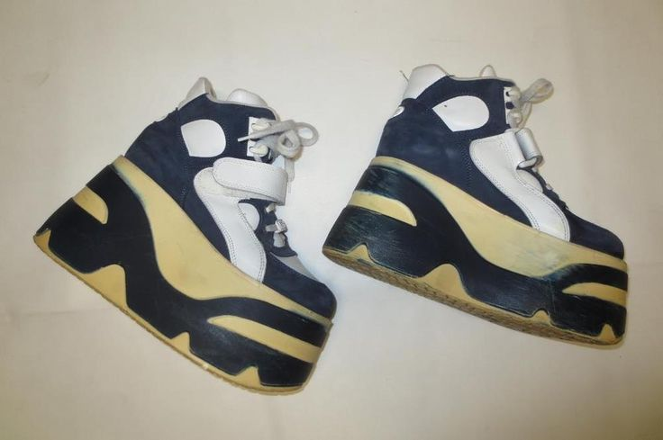 90s Vtg Extreme Monster Platform Sneakers Rave Bee Fly Spice Girls Two Tone 8.5M #BeeFlyGirls #PlatformSneakers