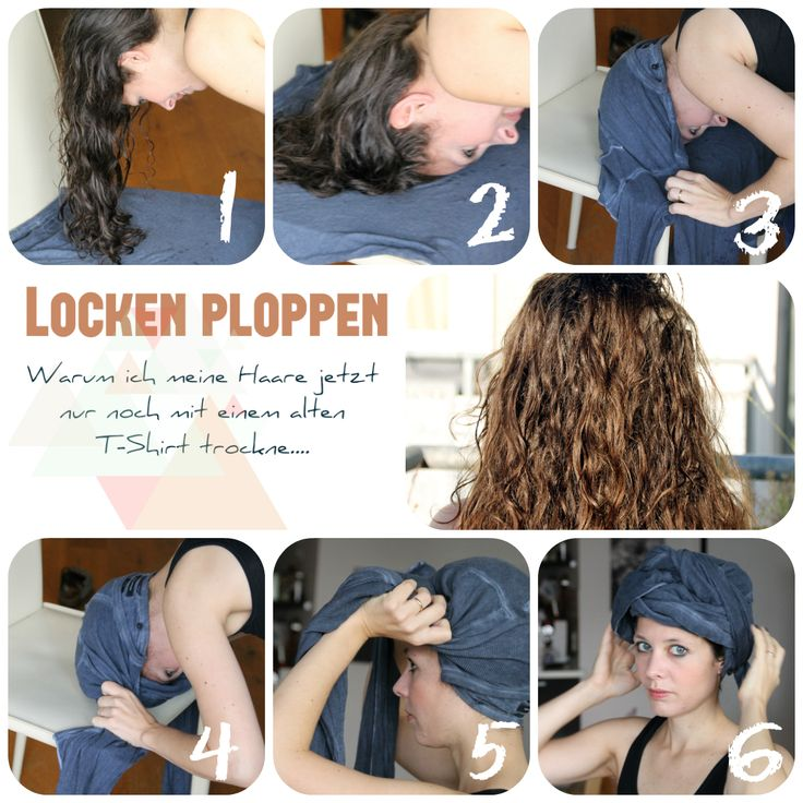 Die Plopping-Methode ist mein neuer Haarretter: Haare nach dem Waschen in ein altes T-Shirt einwickelt. Et voilà...die Locken fallen total schön. Ganz easy zum Nachmachen!