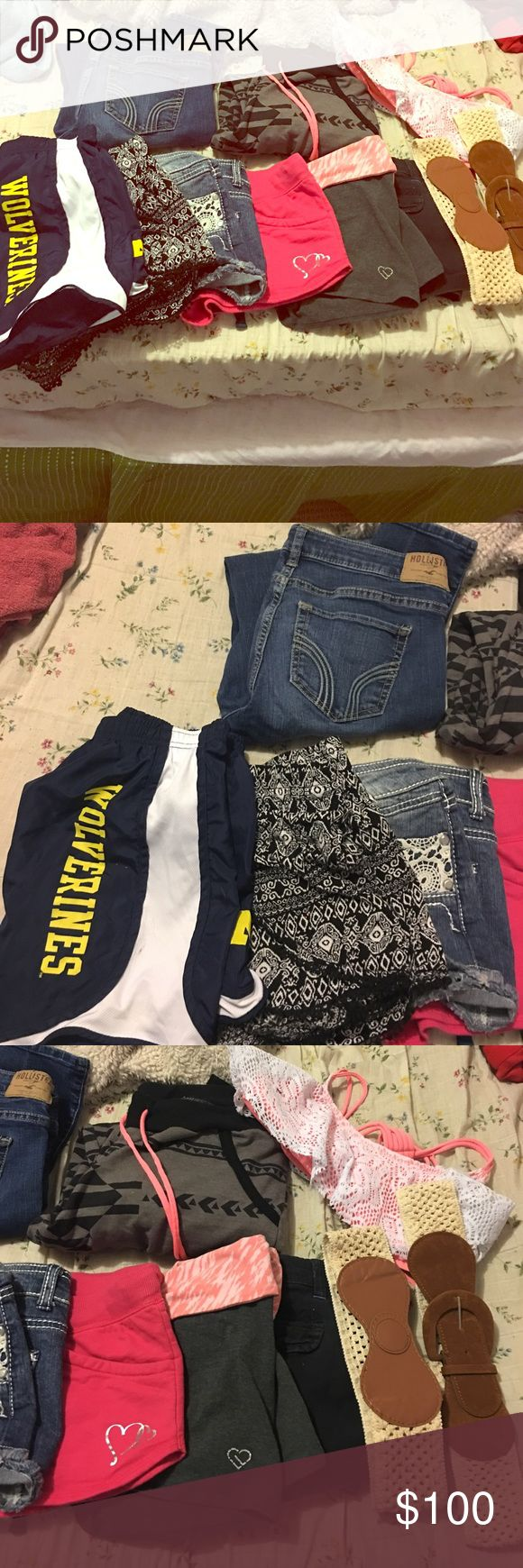Hollister and other brand name lot Hollister jeans size 5 but fit like a 3. Skinny jeans. Joggers, bathing suit top and black/white shorts are all size medium. Wolverine shorts, pink heart shorts and aero shorts all size small. No boundaries Jean shorts say size 9 fit like a 3. Aero blue shorts says size 7/8 fit like a 3. Willing to trade for another lot of clothing. Willing to separate. Willing to trade for brands: Hollister, diamond supply, vs pink, miss me, rock revivals, miss me and rue…